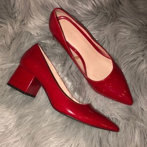 Zara red patent pointed block heels 8